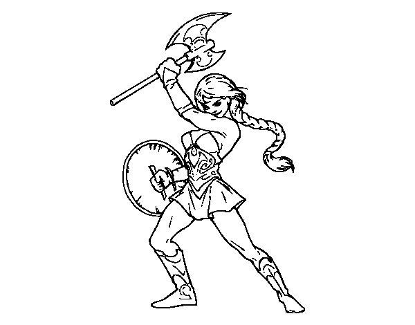 Coloriage De Héroïne Viking Pour Colorier