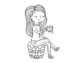 <span class='hidden-xs'>Coloriage de </span>Heure du thé à colorier