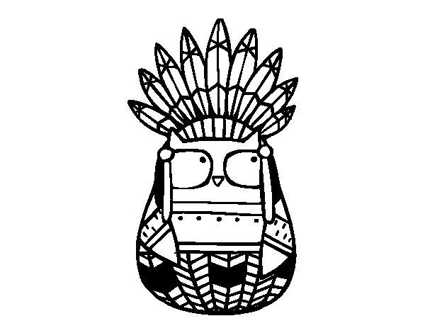 Coloriage de Hibou chef indien pour Colorier