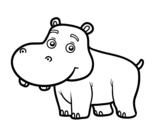 <span class='hidden-xs'>Coloriage de </span>Hippopotame jeune à colorier