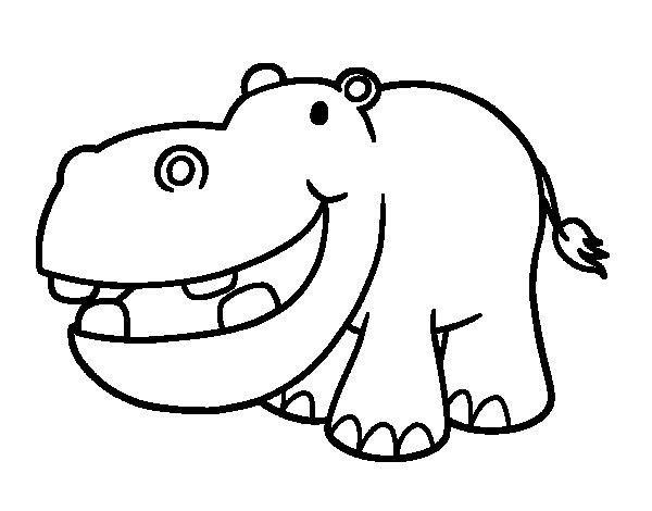 Coloriage de Hippopotame petit pour Colorier