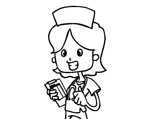 Coloriage de Infirmière à domicile pour Colorier