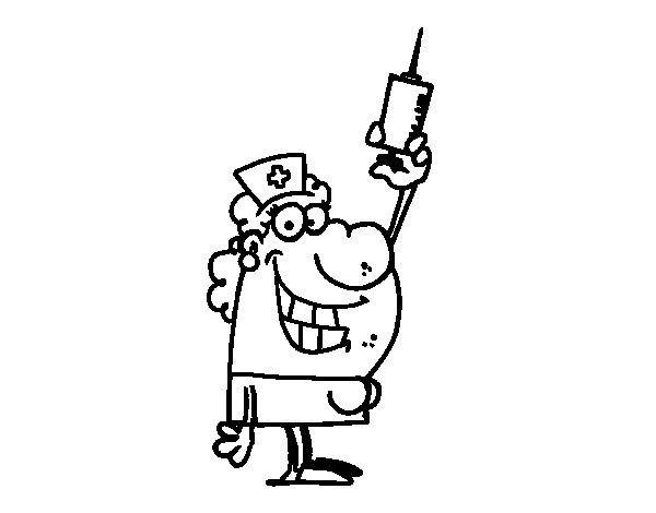 Coloriage de Infirmière avec une aiguille pour Colorier