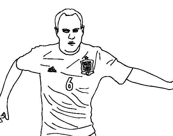 Coloriage de Iniesta avec L'équipe d'Espagne pour Colorier