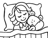 Dibujo de Jeune fille endormie