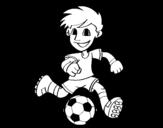 <span class='hidden-xs'>Coloriage de </span>Joueur de football avec ballon à colorier