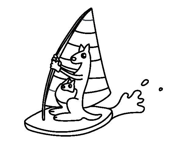 Coloriage de Kangourous sur une planche windsurf pour Colorier