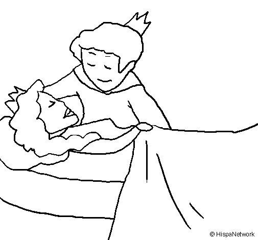 Coloriage de la belle au bois dormant et le prince pour colorier - Dessin de la belle au bois dormant ...