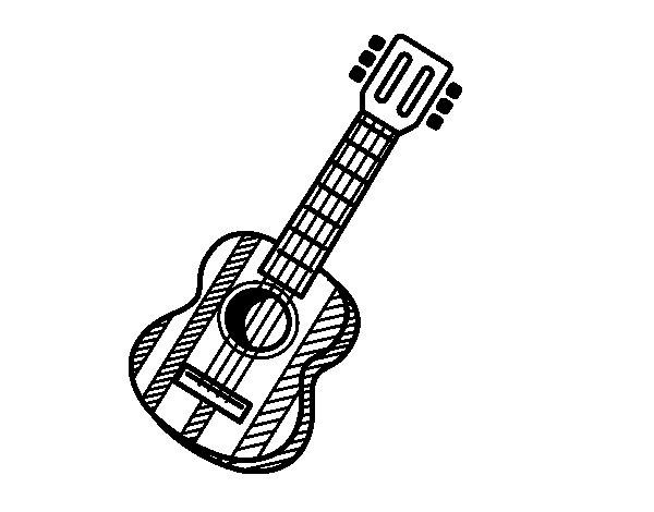 Coloriage de La guitare espagnole pour Colorier