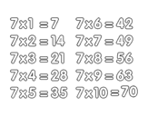 <span class='hidden-xs'>Coloriage de </span>La table de multiplication du 7 à colorier