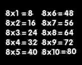 <span class='hidden-xs'>Coloriage de </span>La table de multiplication du 8 à colorier