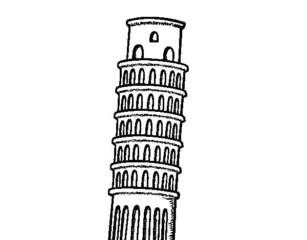 Coloriage de la tour de pise pour colorier - Taille de la tour de pise ...