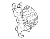 <span class='hidden-xs'>Coloriage de </span>Lapin avec un énorme oeuf de Pâques à colorier