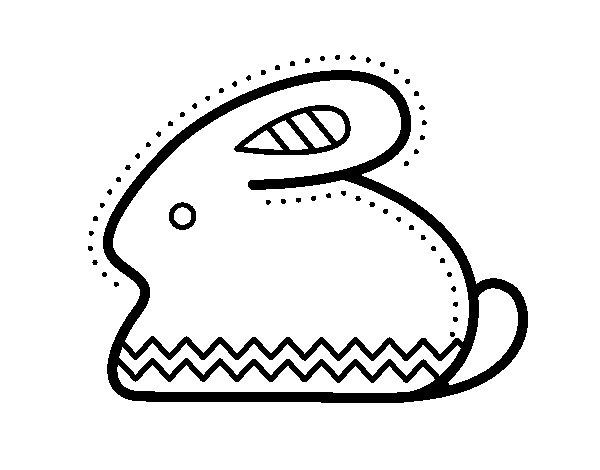 Coloriage de Lapin de Pâques latéral pour Colorier