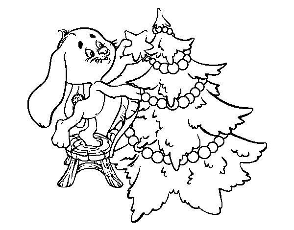 Coloriage de Lapin décoration de arbre de Noël pour Colorier