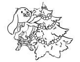 <span class='hidden-xs'>Coloriage de </span>Lapin décoration de arbre de Noël à colorier