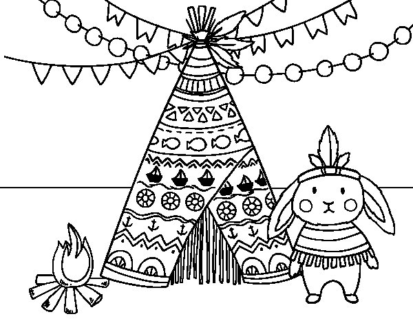 Coloriage de Lapin indienne pour Colorier