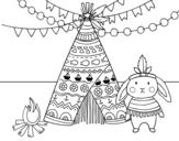 <span class='hidden-xs'>Coloriage de </span>Lapin indienne à colorier