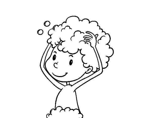 Coloriage de le lavage des cheveux pour colorier - Dessin se laver ...