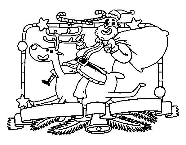 Coloriage de Le Père Noël et le renne de Noël pour Colorier