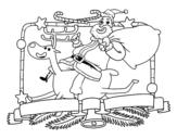 <span class='hidden-xs'>Coloriage de </span>Le Père Noël et le renne de Noël à colorier