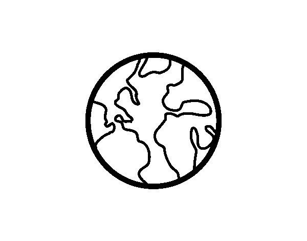 Coloriage de Le planète Terre pour Colorier