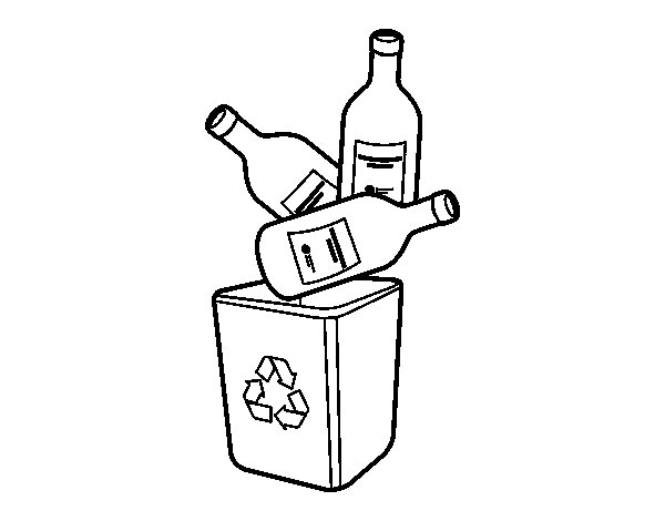 Coloriage de Le recyclage du verre pour Colorier