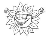 <span class='hidden-xs'>Coloriage de </span>Le soleil avec des lunettes de soleil à colorier