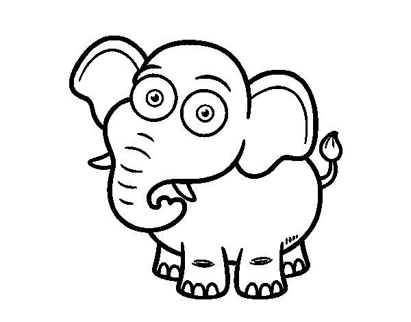 Coloriage de L'Éléphant de savane d'Afrique pour Colorier
