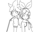 <span class='hidden-xs'>Coloriage de </span>Len et Rin Kagamine Vocaloid à colorier