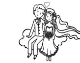 <span class='hidden-xs'>Coloriage de </span>Les jeunes mariés dans un nuage à colorier
