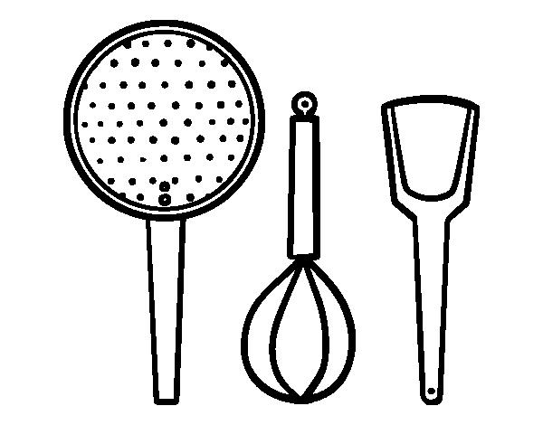 Coloriage de les ustensiles de cuisine pour colorier - Ustensiles de cuisine rigolo ...