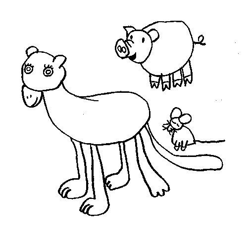 Coloriage de Lionne, cochon et souris pour Colorier
