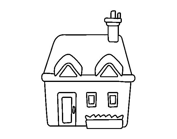 Coloriage de maison avec chemin e pour colorier - Maison avec cheminee ...