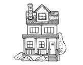 <span class='hidden-xs'>Coloriage de </span>Maison de deux étages avec grenier à colorier