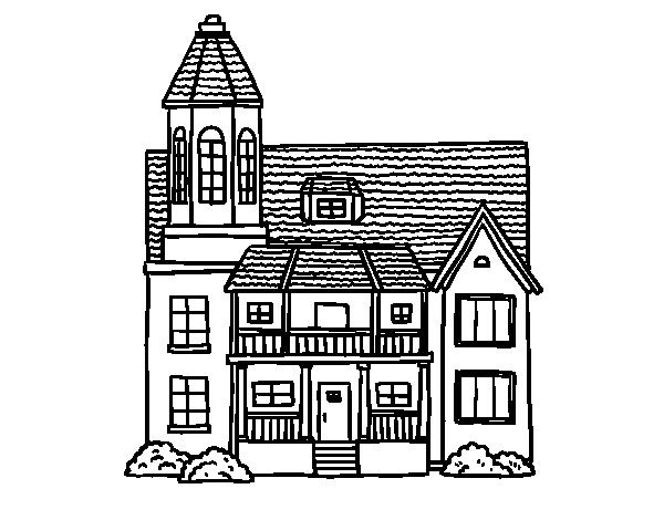 Coloriage de maison de deux tages avec une tour pour for Maison avec une tour