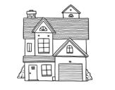 <span class='hidden-xs'>Coloriage de </span>Maison de famille américaine à colorier