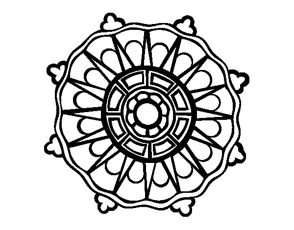 Coloriage de Mandala avec les rayons du soleil pour Colorier
