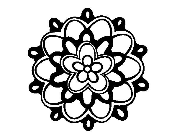 Coloriage de mandala avec une fleur pour colorier - Colorier une fleur ...
