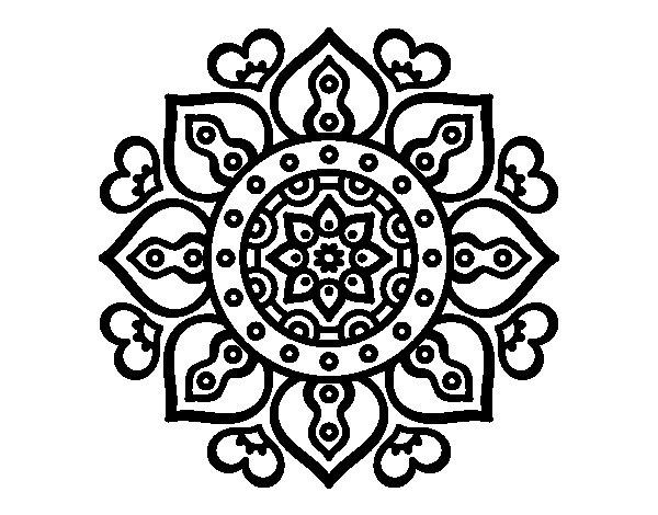 Coloriage de Mandala coeurs arabes pour Colorier