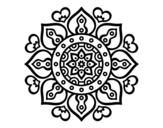<span class='hidden-xs'>Coloriage de </span>Mandala coeurs arabes à colorier