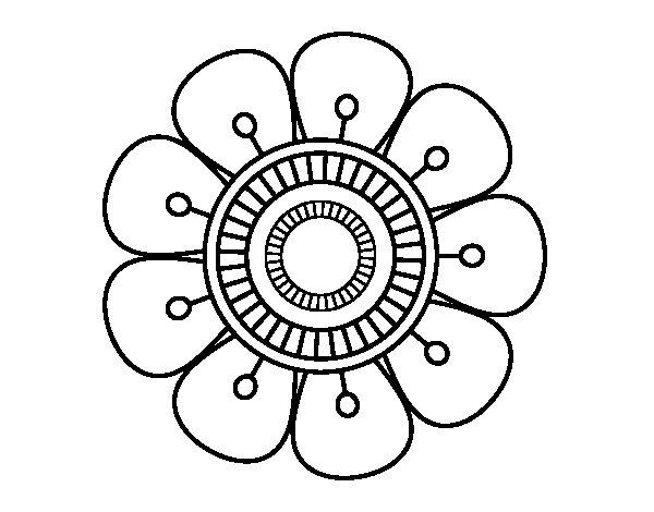 Coloriage de Mandala en forme fleur pour Colorier
