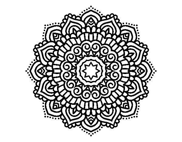 Coloriage de Mandala étoiles décoré pour Colorier
