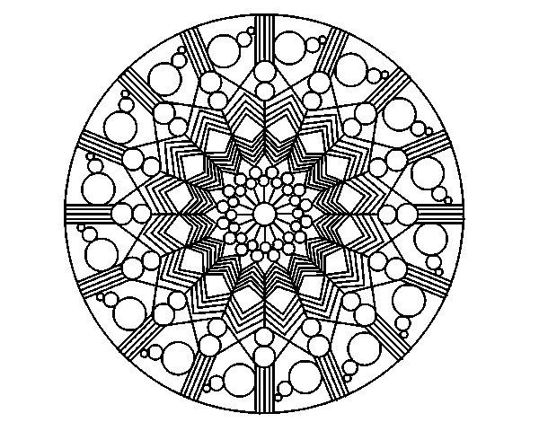 Coloriage de Mandala fleur avec des cercles pour Colorier