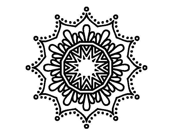 Coloriage de Mandala fleur de neige pour Colorier