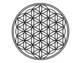<span class='hidden-xs'>Coloriage de </span>Mandala fleur de vie à colorier