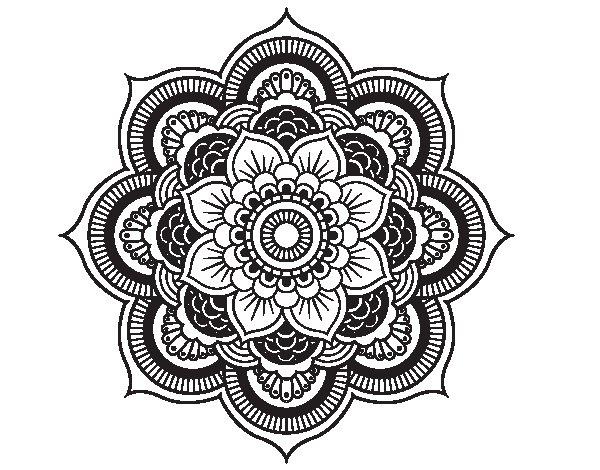 Coloriage de Mandala fleur oriental pour Colorier