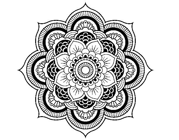 Coloriage de mandala fleur oriental pour colorier - Coloriage fleur mandala ...