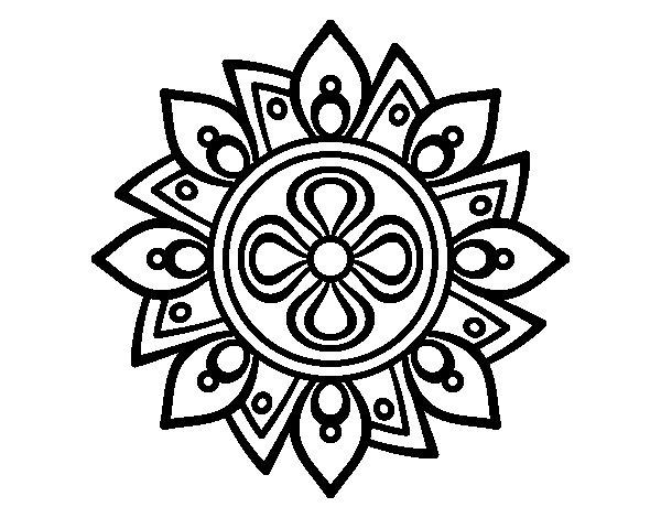 Coloriage de Mandala fleur simple pour Colorier