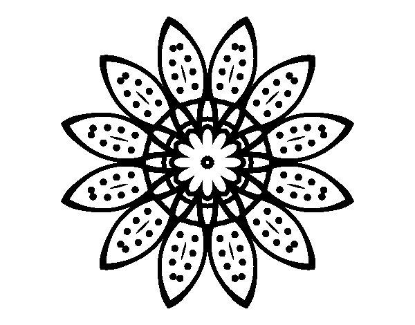 Coloriage de Mandala fleurs avec pétales pour Colorier